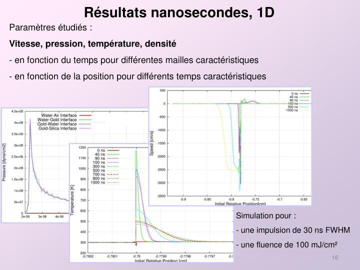 Résultats nanosecondes, 1D