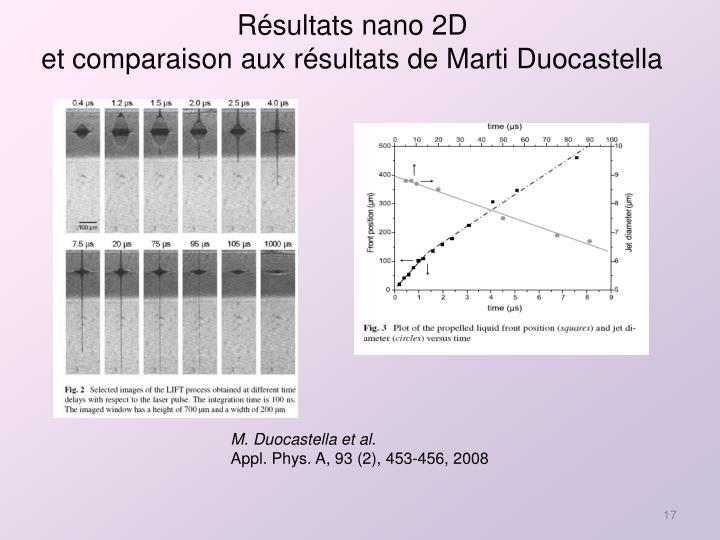 Résultats nano 2D