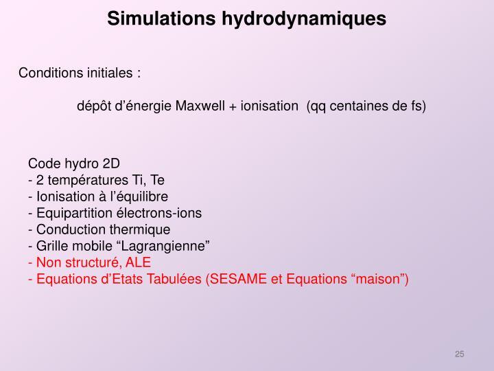 Simulations hydrodynamiques