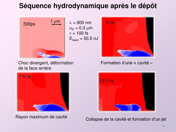Séquence hydrodynamique après le dépôt