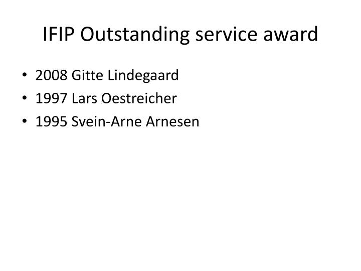 IFIP Outstanding service