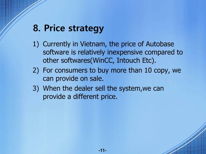 8. Price strategy