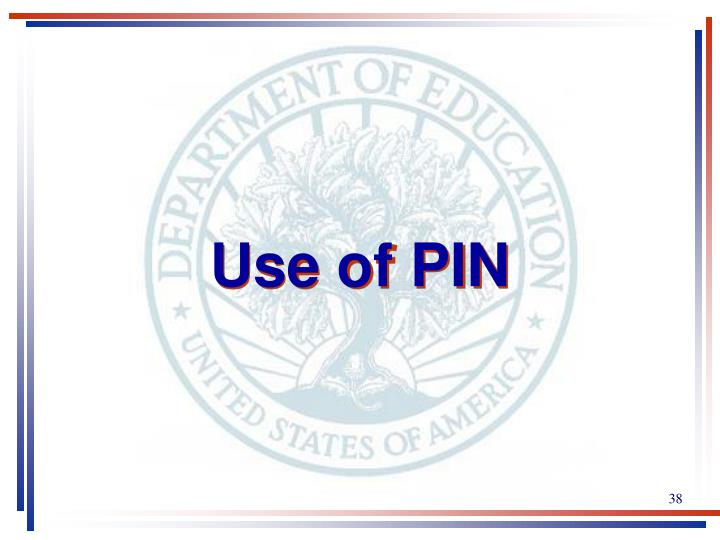 Use of PIN