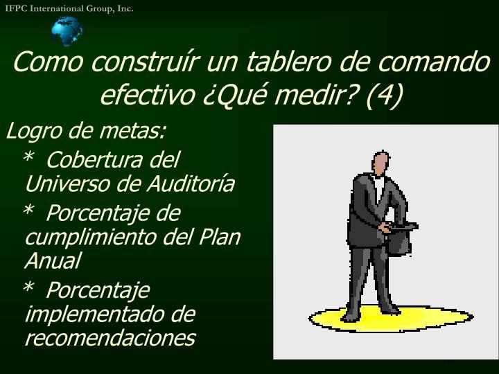 Como construír un tablero de comando efectivo ¿Qué medir? (4)