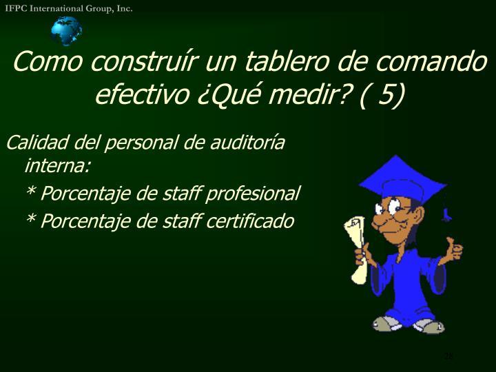 Calidad del personal de auditoría interna:
