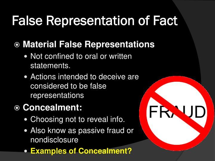 False Representation of Fact