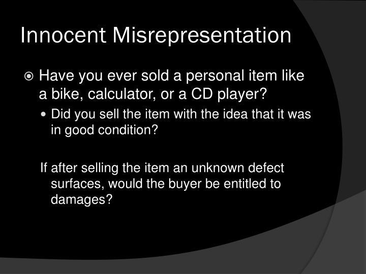 Innocent Misrepresentation