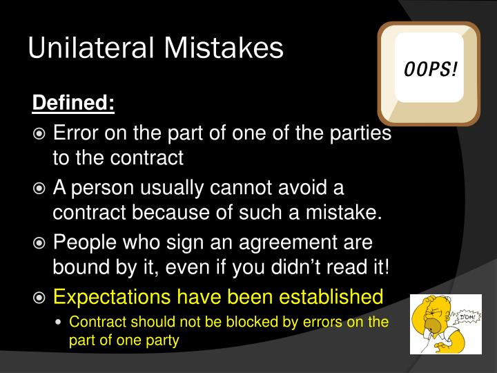 Unilateral Mistakes