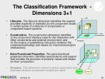 the classification framework dimensions 3 1