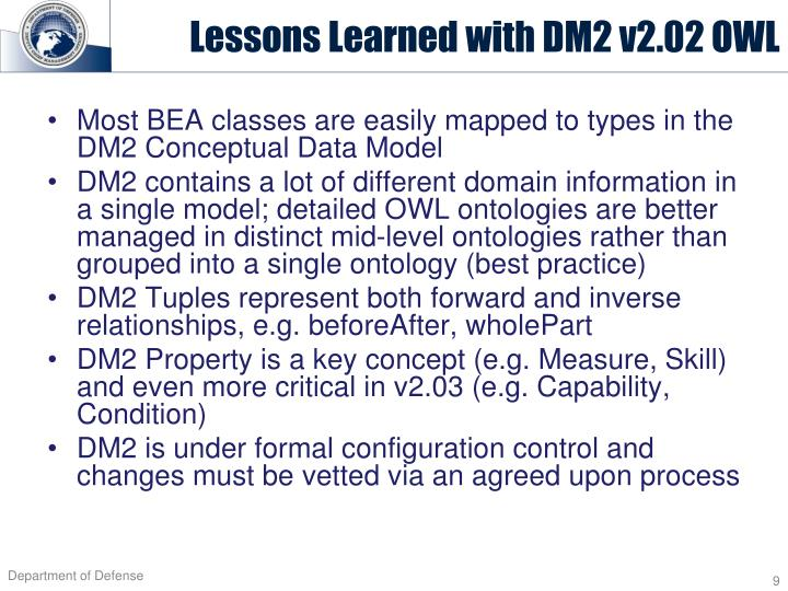 Lessons Learned with DM2 v2.02 OWL