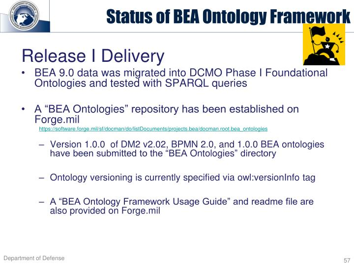Status of BEA Ontology Framework