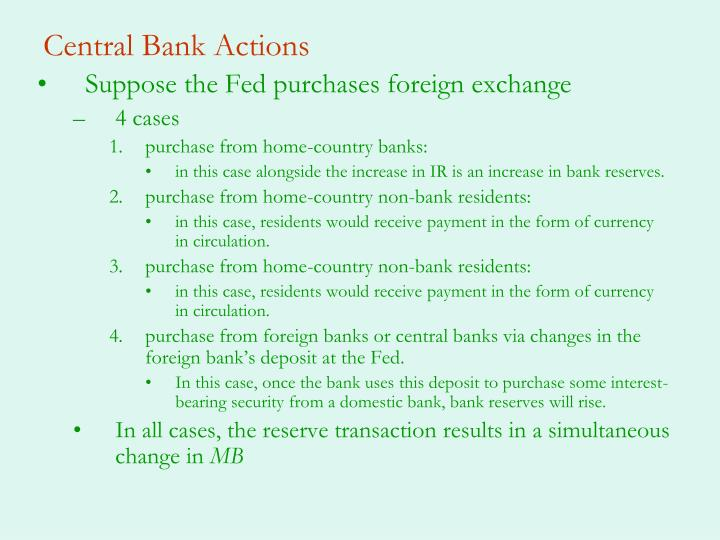 Central Bank Actions