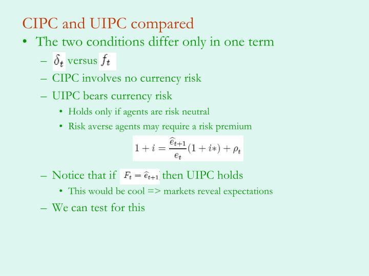 CIPC and UIPC compared