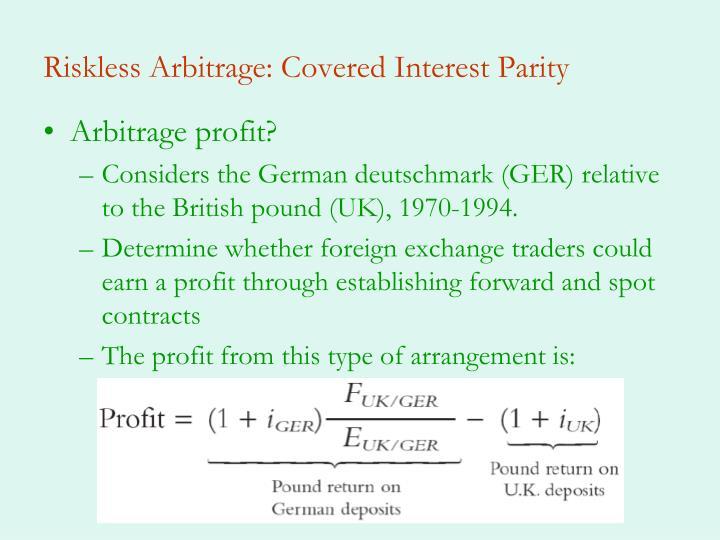 Riskless Arbitrage: Covered Interest Parity