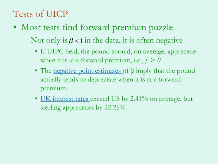 Tests of UICP