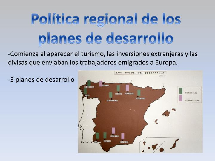 Política regional de los planes de desarrollo