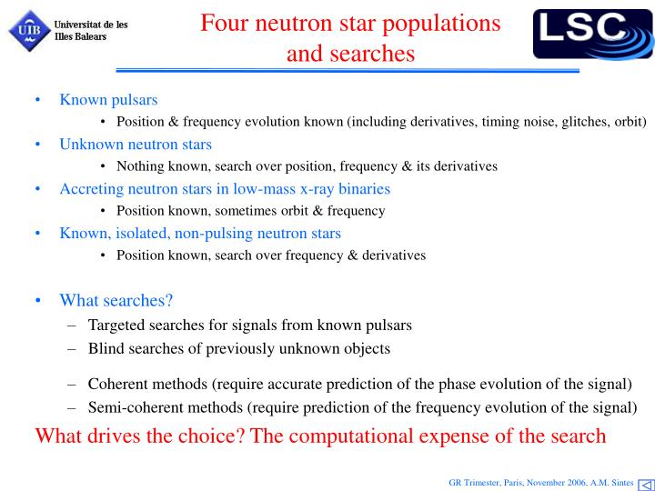 Four neutron star populations