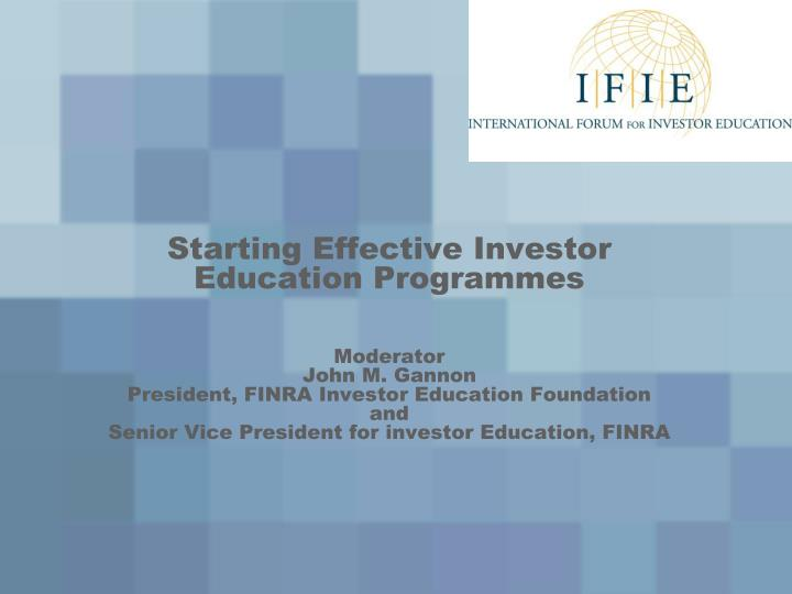 Starting Effective Investor Education Programmes