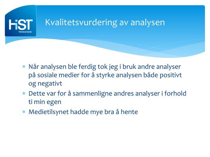 Kvalitetsvurdering av analysen