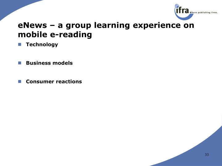 eNews – a group learning experience on mobile e-reading