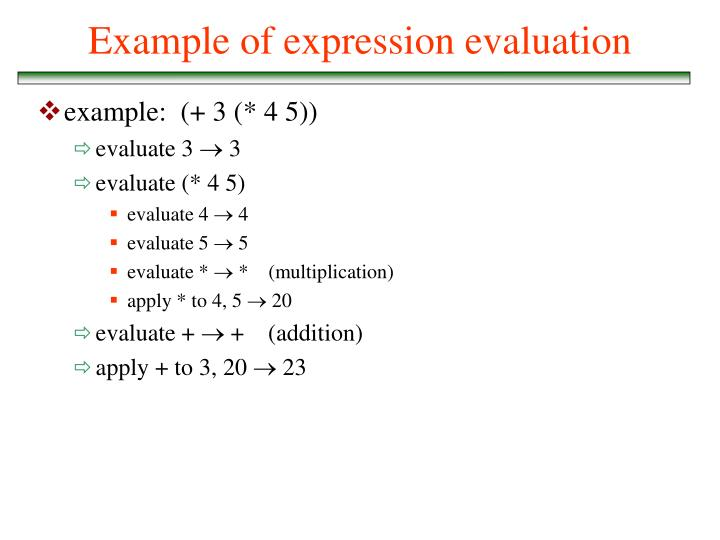 Example of expression evaluation