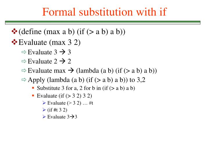 Formal substitution with if