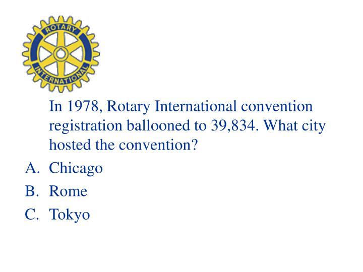In 1978, Rotary International convention registration ballooned to 39,834. What city hosted the convention?