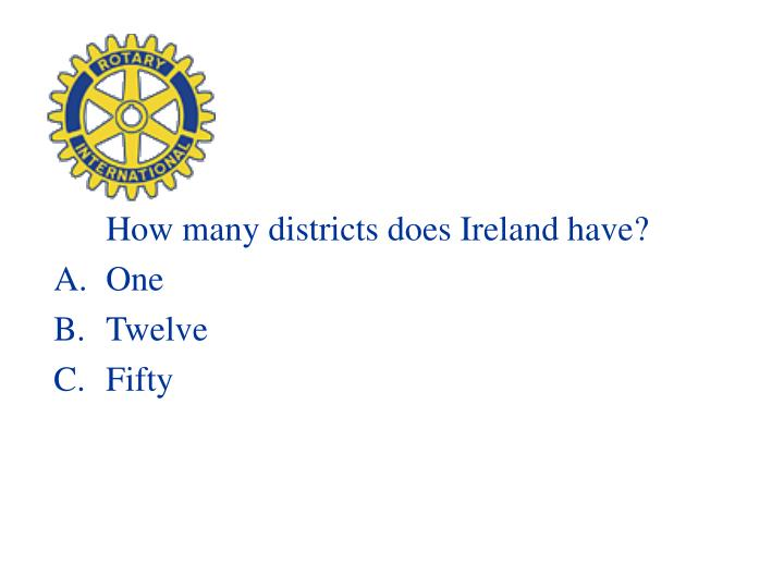 How many districts does Ireland have?
