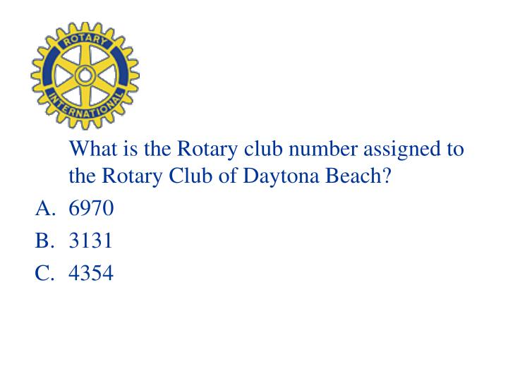 What is the Rotary club number assigned to the Rotary Club of Daytona Beach?