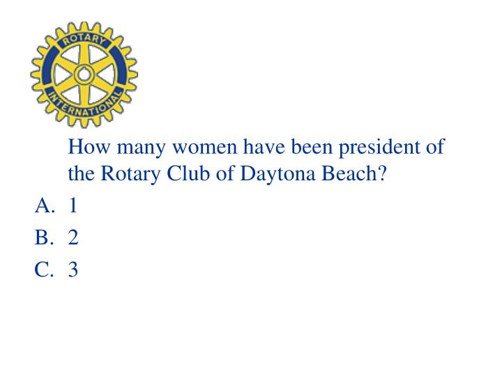 How many women have been president of the Rotary Club of Daytona Beach?