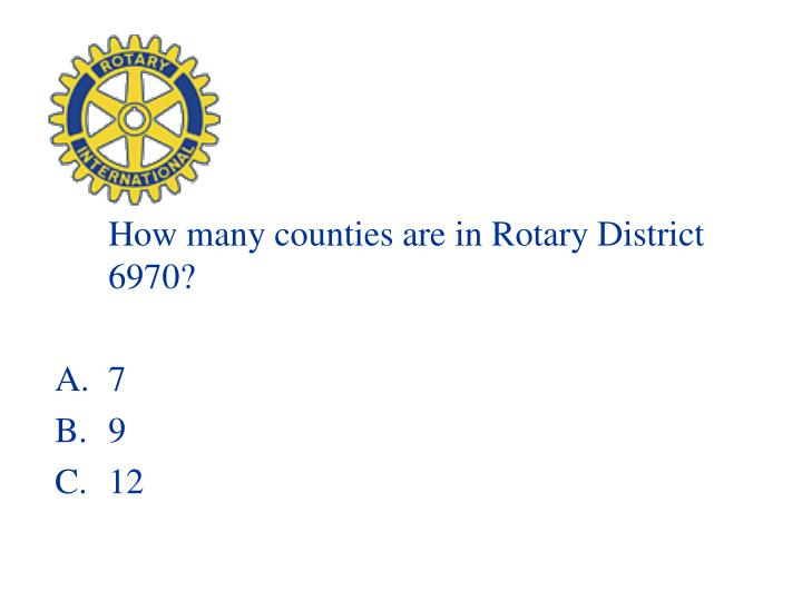 How many counties are in Rotary District 6970?