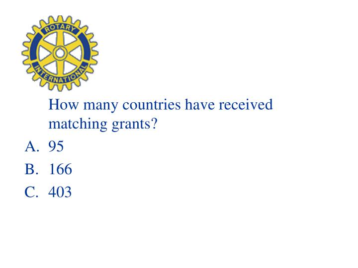 How many countries have received matching grants?