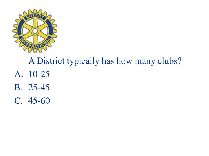A District typically has how many clubs?