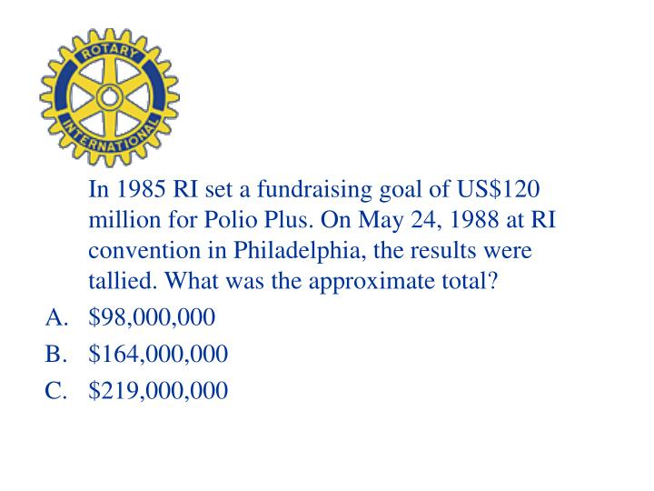 In 1985 RI set a fundraising goal of US$120 million for Polio Plus. On May 24, 1988 at RI convention in Philadelphia, the results were tallied. What was the approximate total?