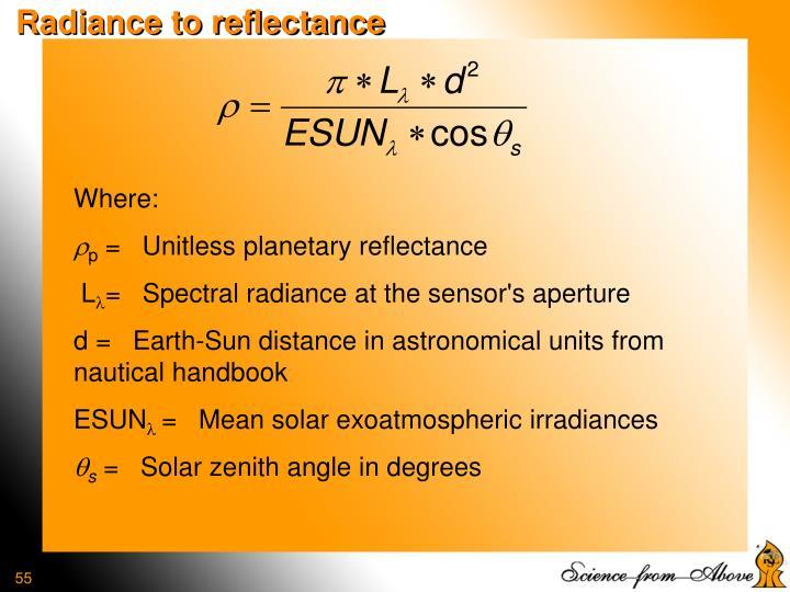 Radiance to reflectance