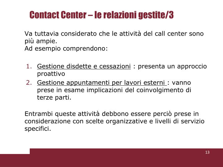 Contact Center – le relazioni gestite/3