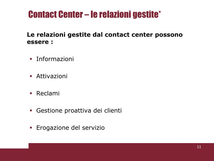 Contact Center – le relazioni gestite*