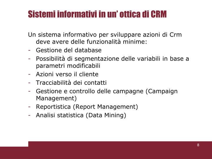Sistemi informativi in un' ottica di CRM