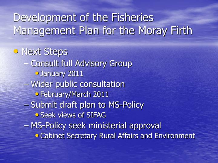 Development of the Fisheries Management Plan for the Moray Firth