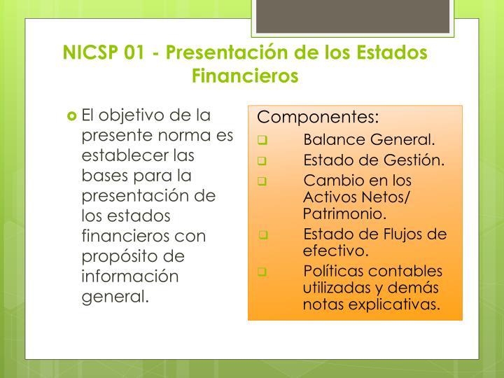 NICSP 01 - Presentación de los Estados Financieros