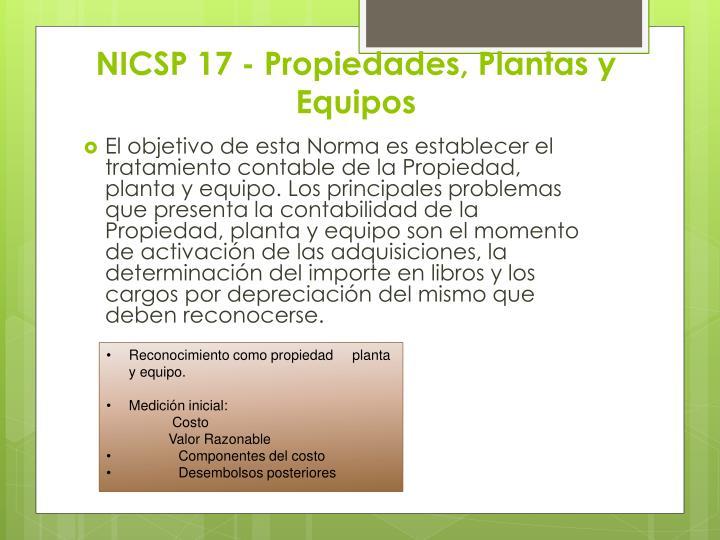 NICSP 17 - Propiedades, Plantas y Equipos