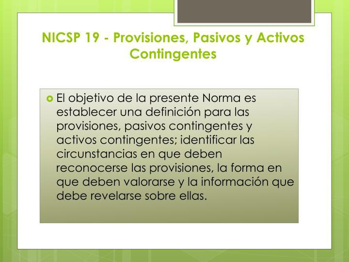 NICSP 19 - Provisiones, Pasivos y Activos Contingentes
