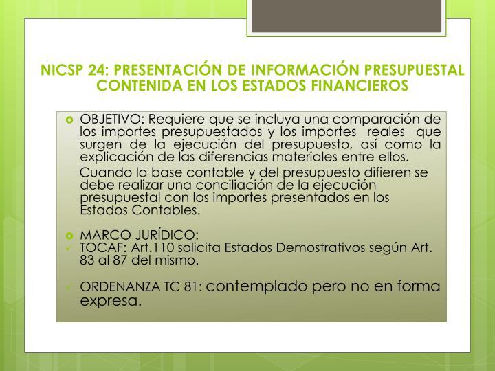 NICSP 24: PRESENTACIÓN DE