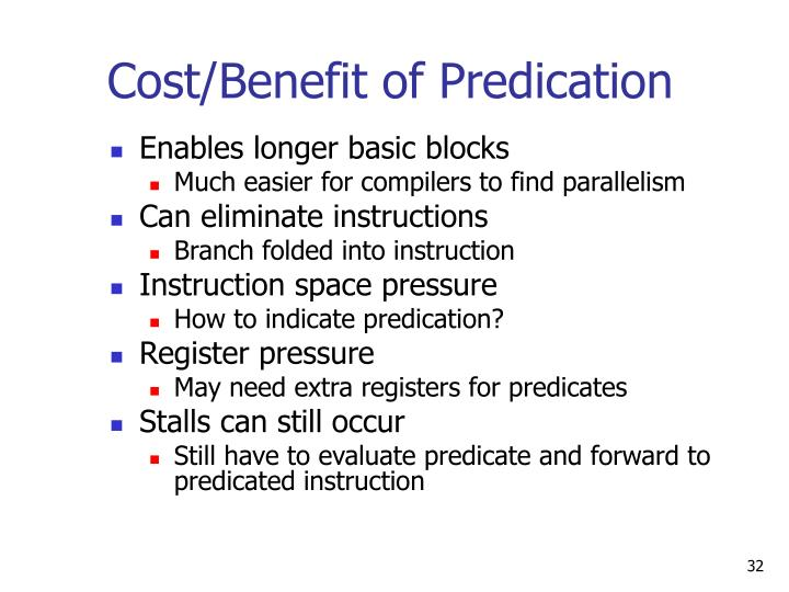 Cost/Benefit of Predication