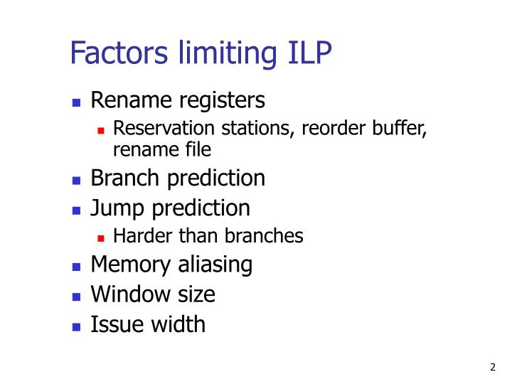 Factors limiting ilp