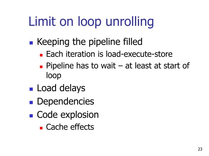 Limit on loop unrolling