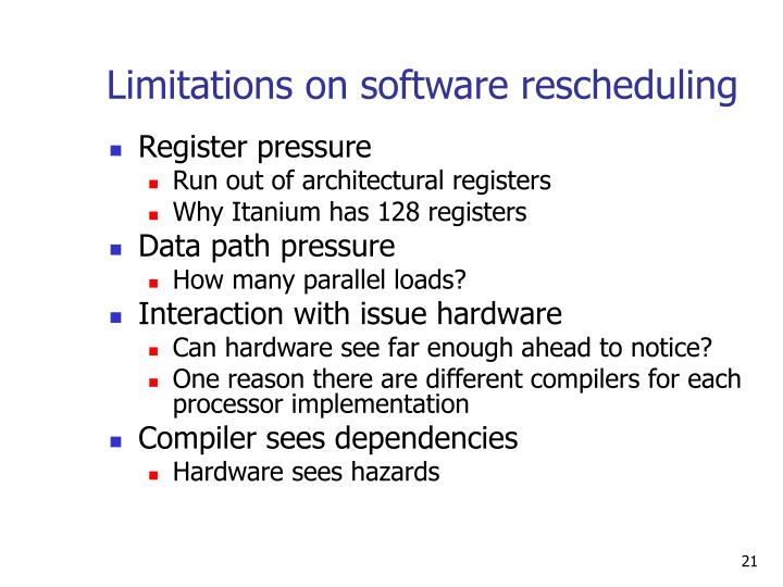 Limitations on software rescheduling