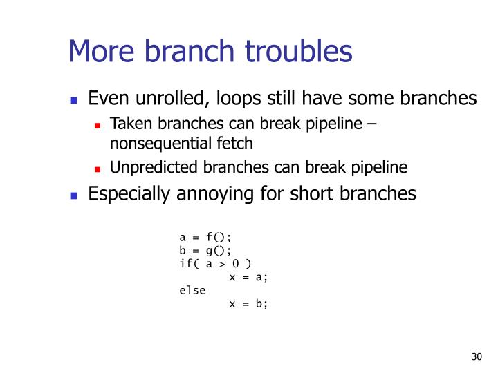 More branch troubles
