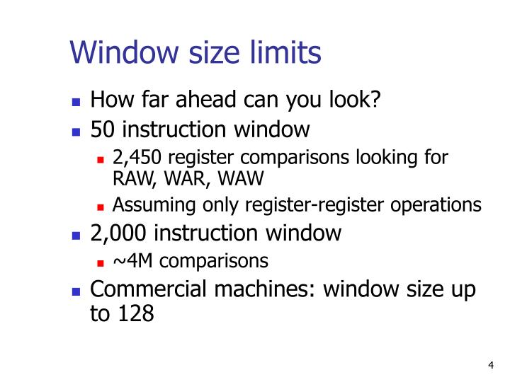 Window size limits