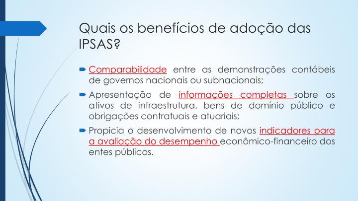 Quais os benefícios de adoção das IPSAS?